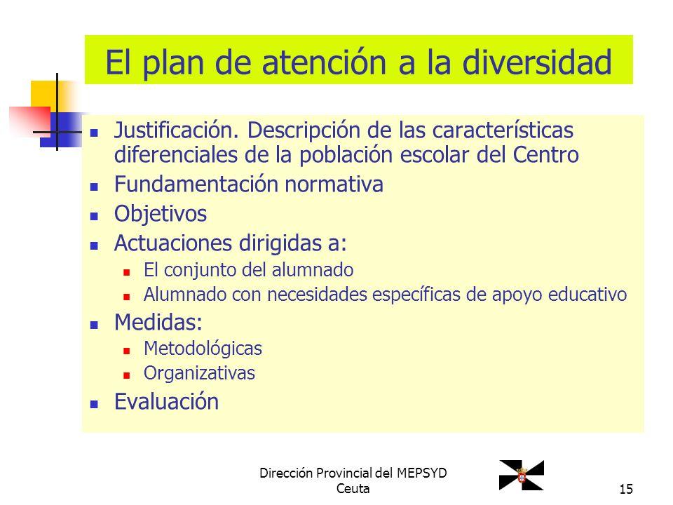 15 El plan de atención a la diversidad Justificación. Descripción de las características diferenciales de la población escolar del Centro Fundamentaci