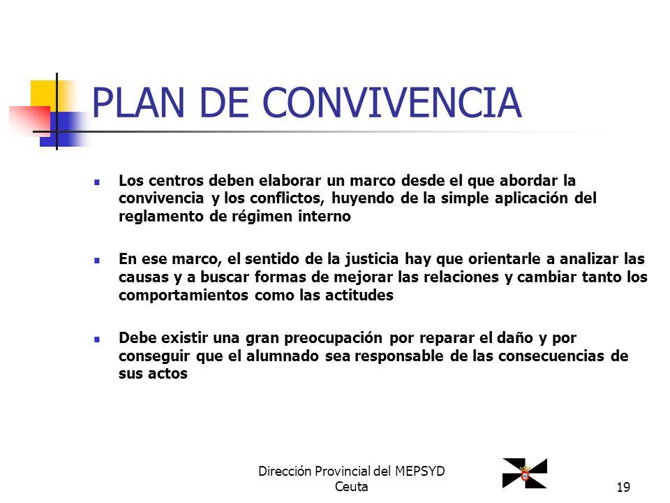19 PLAN DE CONVIVENCIA Los centros deben elaborar un marco desde el que abordar la convivencia y los conflictos, huyendo de la simple aplicación del r