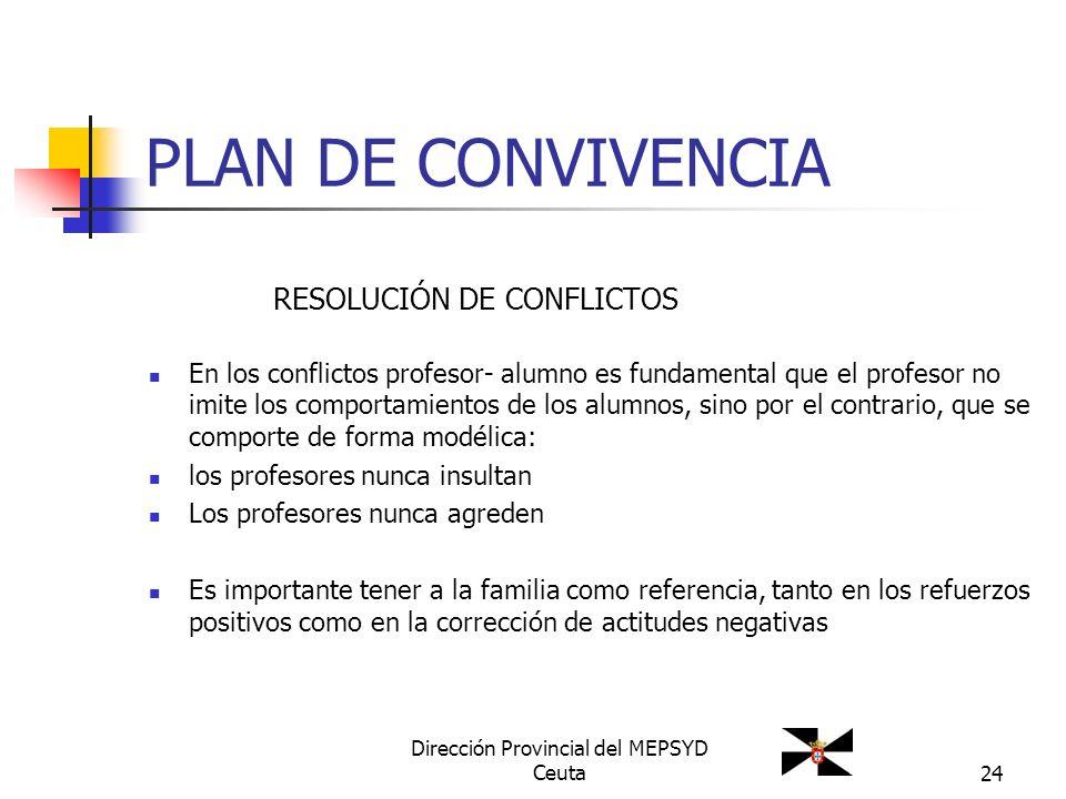 24 PLAN DE CONVIVENCIA RESOLUCIÓN DE CONFLICTOS En los conflictos profesor- alumno es fundamental que el profesor no imite los comportamientos de los