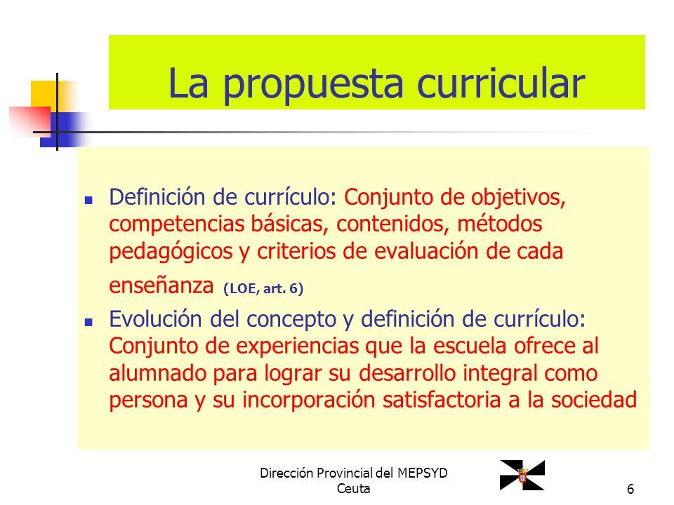 6 La propuesta curricular Definición de currículo: Conjunto de objetivos, competencias básicas, contenidos, métodos pedagógicos y criterios de evaluac