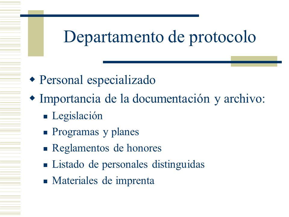Departamento de protocolo Personal especializado Importancia de la documentación y archivo: Legislación Programas y planes Reglamentos de honores List