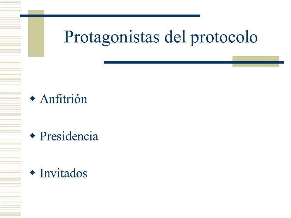 Protagonistas del protocolo Anfitrión Presidencia Invitados
