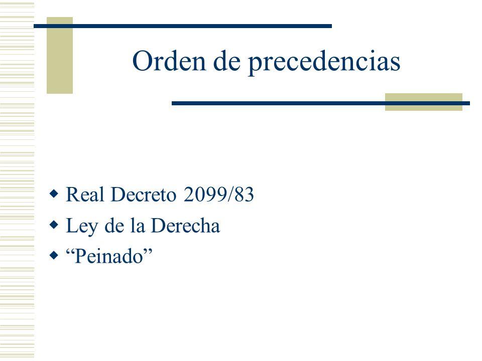 Orden de precedencias Real Decreto 2099/83 Ley de la Derecha Peinado