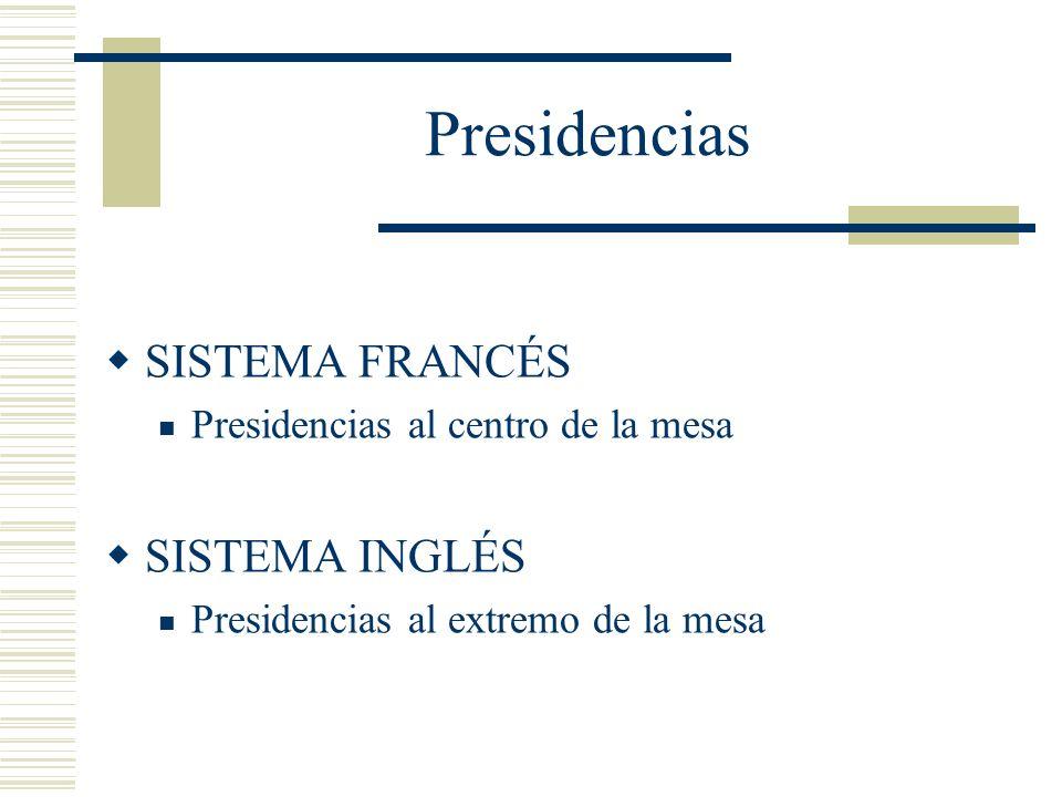 Presidencias SISTEMA FRANCÉS Presidencias al centro de la mesa SISTEMA INGLÉS Presidencias al extremo de la mesa