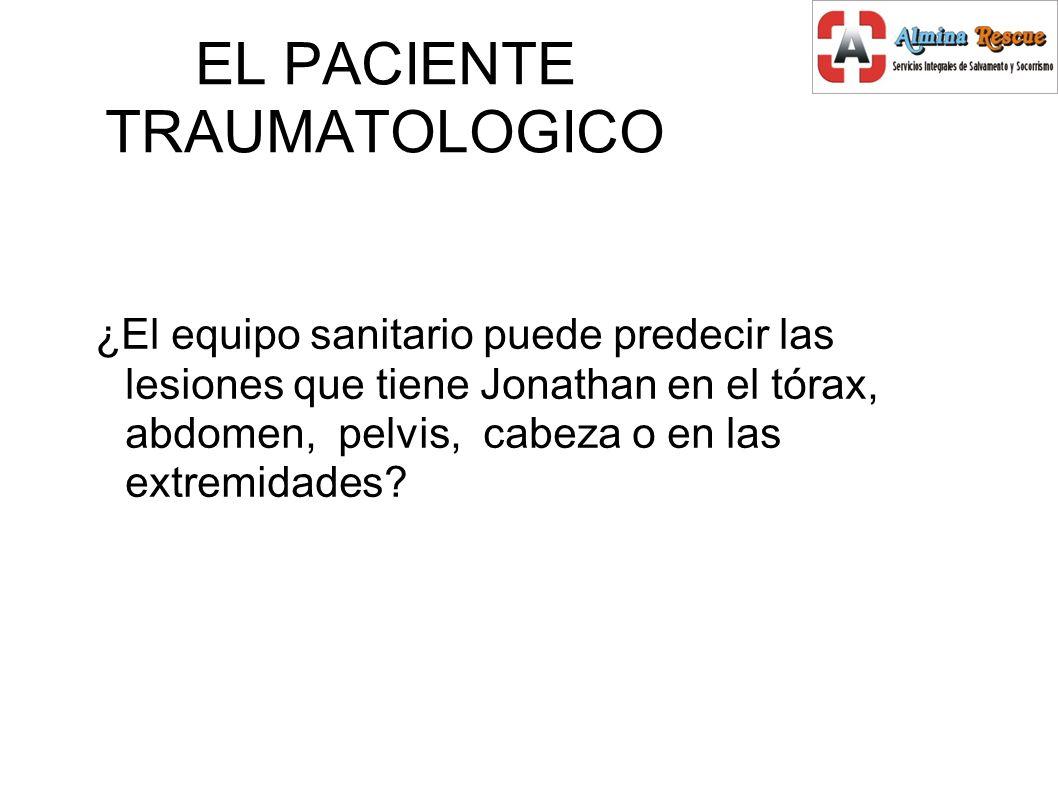 EL PACIENTE TRAUMATOLOGICO ¿El equipo sanitario puede predecir las lesiones que tiene Jonathan en el tórax, abdomen, pelvis, cabeza o en las extremidades