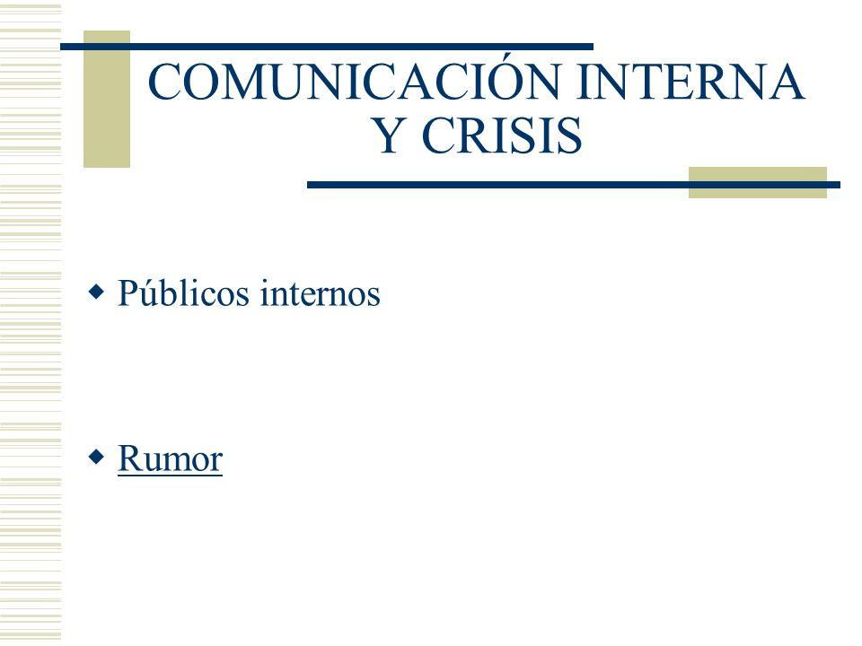 COMUNICACIÓN INTERNA Y CRISIS Públicos internos Rumor