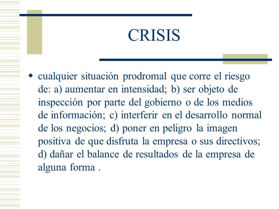 CRISIS cualquier situación prodromal que corre el riesgo de: a) aumentar en intensidad; b) ser objeto de inspección por parte del gobierno o de los me