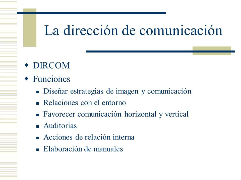 La dirección de comunicación DIRCOM Funciones Diseñar estrategias de imagen y comunicación Relaciones con el entorno Favorecer comunicación horizontal
