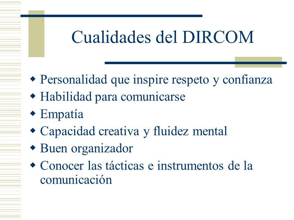 Cualidades del DIRCOM Personalidad que inspire respeto y confianza Habilidad para comunicarse Empatía Capacidad creativa y fluidez mental Buen organiz
