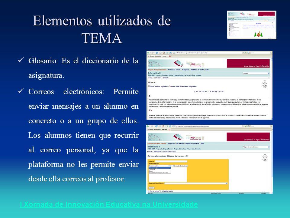 I Xornada de Innovación Educativa na Universidade Elementos utilizados de TEMA Glosario: Es el diccionario de la asignatura. Correos electrónicos: Per