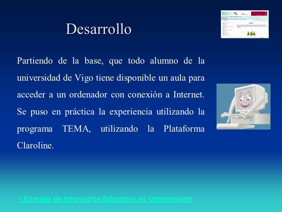 Desarrollo Partiendo de la base, que todo alumno de la universidad de Vigo tiene disponible un aula para acceder a un ordenador con conexión a Internet.
