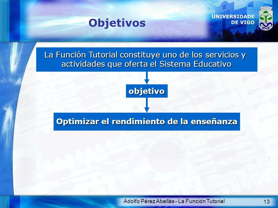 Adolfo Pérez Abellás - La Función Tutorial 13 Objetivos La Función Tutorial constituye uno de los servicios y actividades que oferta el Sistema Educat