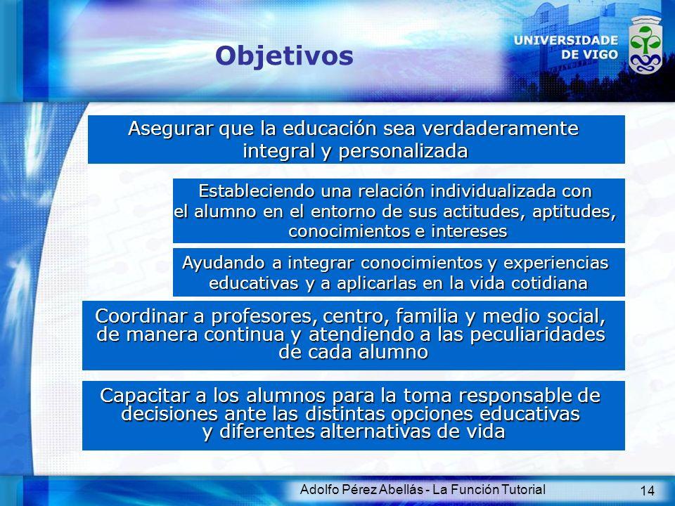 Adolfo Pérez Abellás - La Función Tutorial 14 Objetivos Asegurar que la educación sea verdaderamente integral y personalizada Estableciendo una relaci