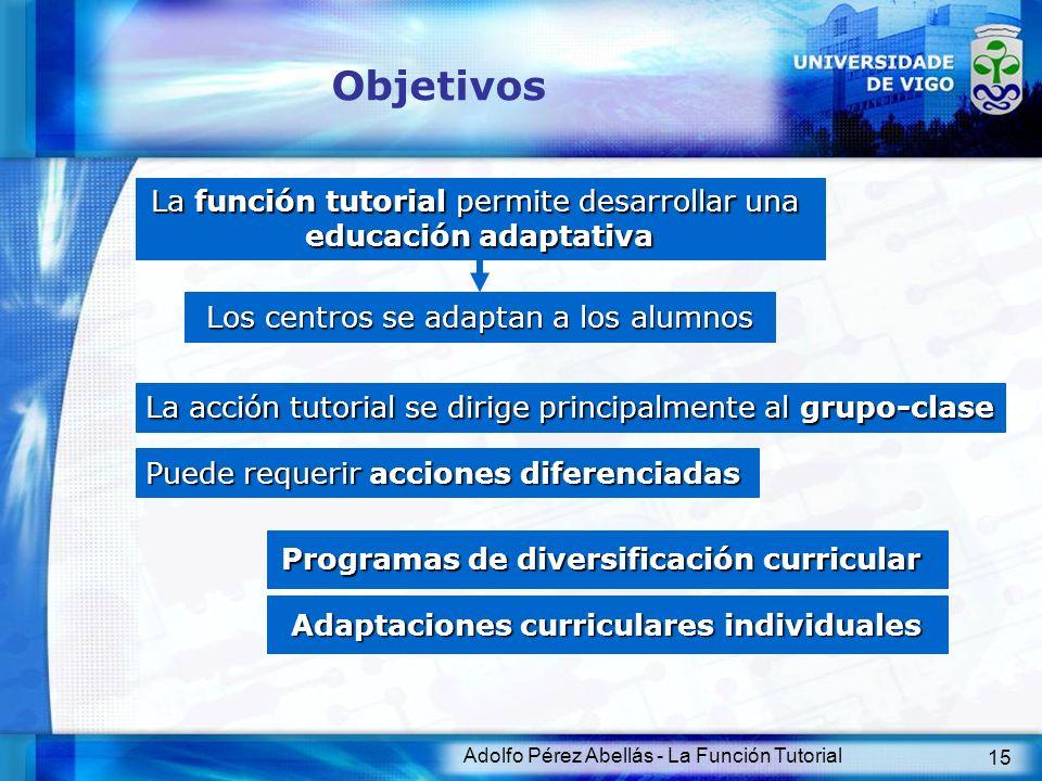 Adolfo Pérez Abellás - La Función Tutorial 15 Objetivos La función tutorial permite desarrollar una educación adaptativa Los centros se adaptan a los