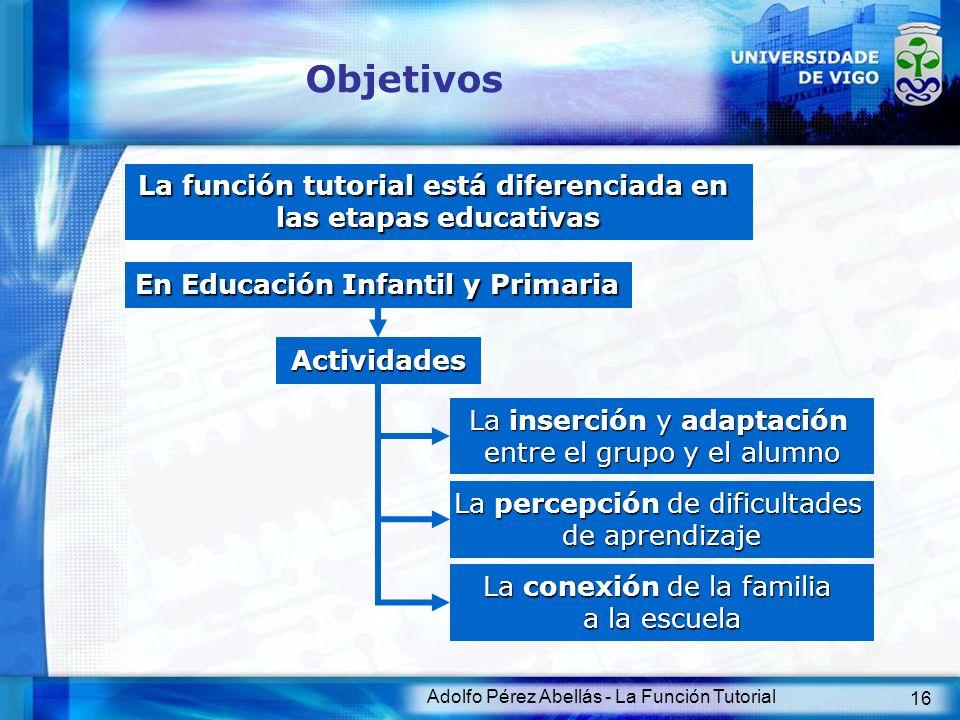 Adolfo Pérez Abellás - La Función Tutorial 16 Objetivos La función tutorial está diferenciada en las etapas educativas En Educación Infantil y Primari