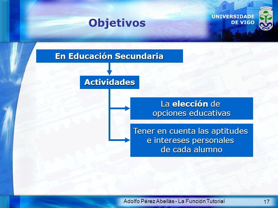 Adolfo Pérez Abellás - La Función Tutorial 18 Objetivos Función tutorial Apoyo técnico Departamento de Orientación Equipo psicopedagógico externo Coordina actividades Enlace Prof.