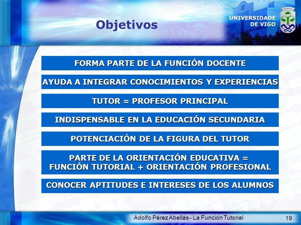 Adolfo Pérez Abellás - La Función Tutorial 19 Objetivos FORMA PARTE DE LA FUNCIÓN DOCENTE AYUDA A INTEGRAR CONOCIMIENTOS Y EXPERIENCIAS TUTOR = PROFES