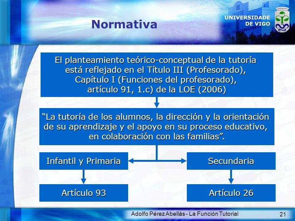 Adolfo Pérez Abellás - La Función Tutorial 21 Normativa El planteamiento teórico-conceptual de la tutoría está reflejado en el Título III (Profesorado
