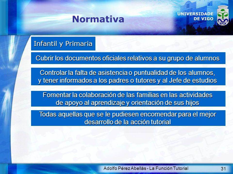 Adolfo Pérez Abellás - La Función Tutorial 32 Normativa Secundaria La tutoría y la orientación del alumnado formará parte de la función docente.