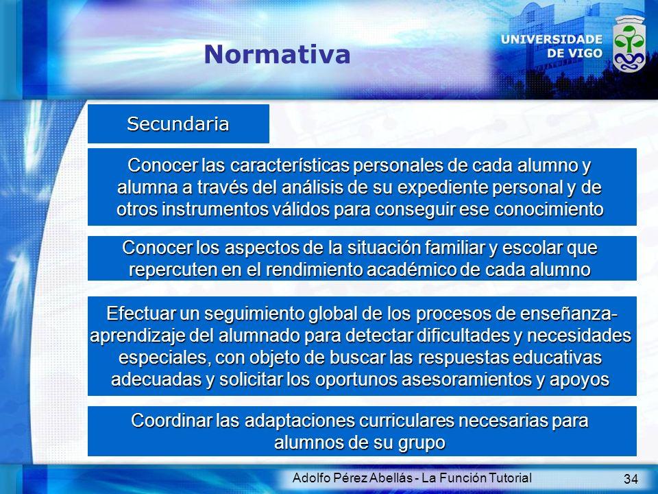 Adolfo Pérez Abellás - La Función Tutorial 34 Normativa Secundaria Conocer las características personales de cada alumno y alumna a través del análisi