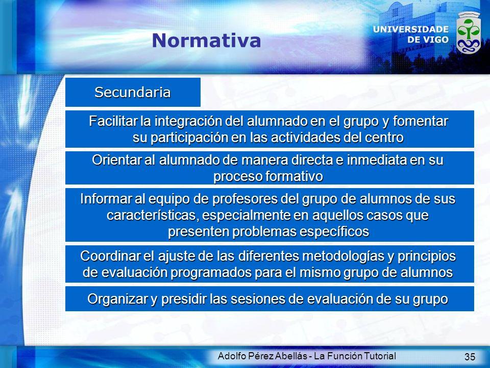 Adolfo Pérez Abellás - La Función Tutorial 35 Normativa Secundaria Facilitar la integración del alumnado en el grupo y fomentar su participación en la