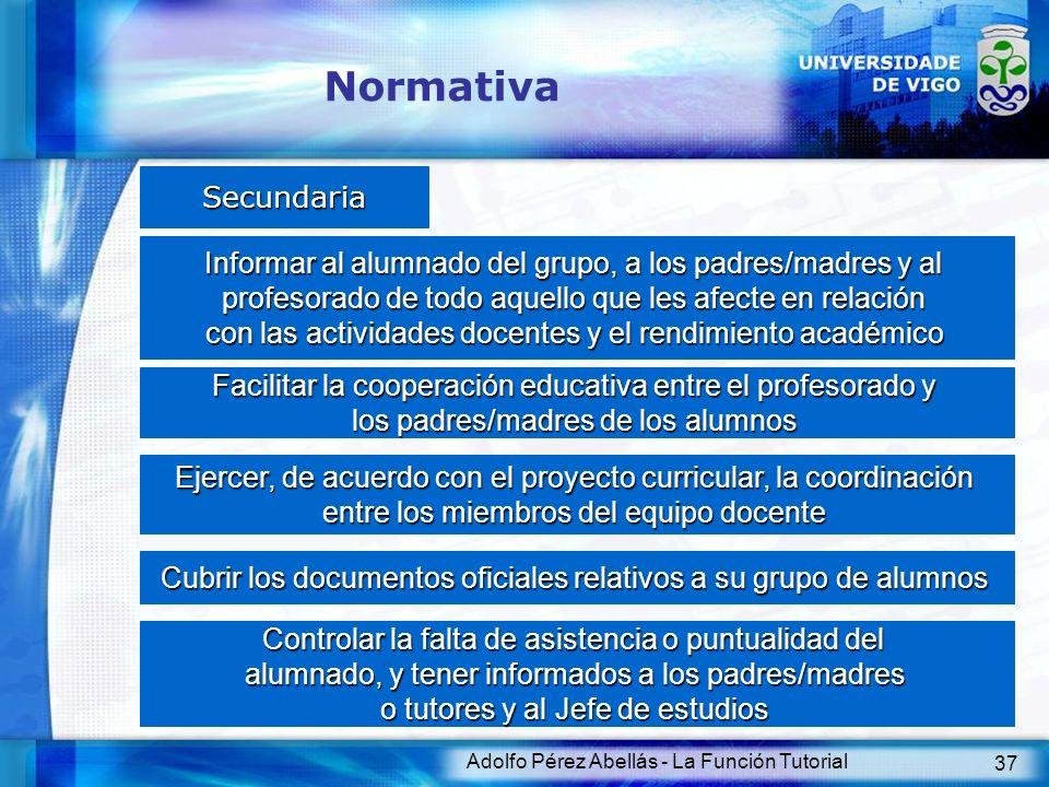 Adolfo Pérez Abellás - La Función Tutorial 37 Normativa Secundaria Informar al alumnado del grupo, a los padres/madres y al profesorado de todo aquell