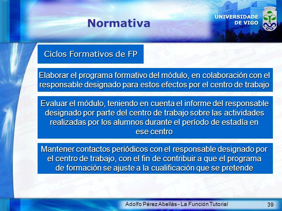 Adolfo Pérez Abellás - La Función Tutorial 39 Normativa Ciclos Formativos de FP Elaborar el programa formativo del módulo, en colaboración con el resp