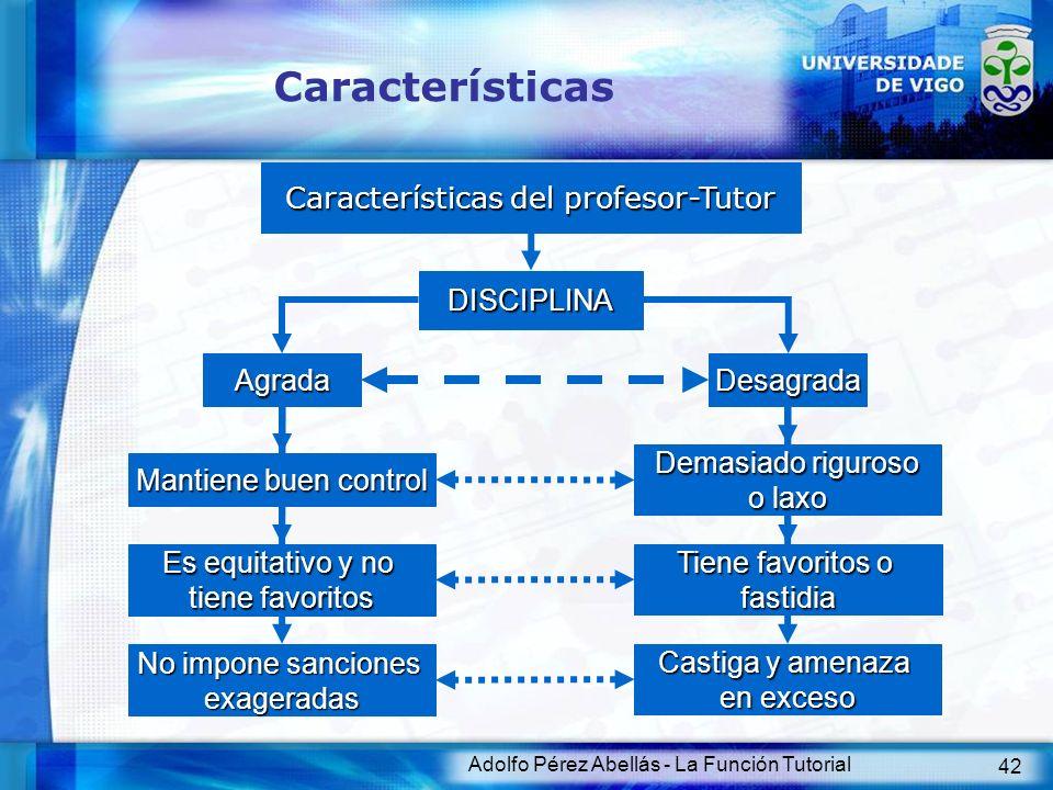 Adolfo Pérez Abellás - La Función Tutorial 42 Características Características del profesor-Tutor DISCIPLINA Agrada Mantiene buen control Desagrada Es