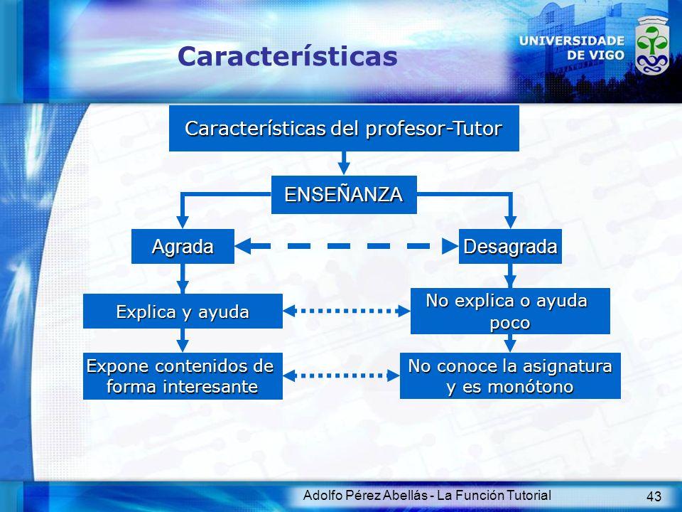 Adolfo Pérez Abellás - La Función Tutorial 43 Características Características del profesor-Tutor ENSEÑANZA Agrada Explica y ayuda Desagrada Expone con