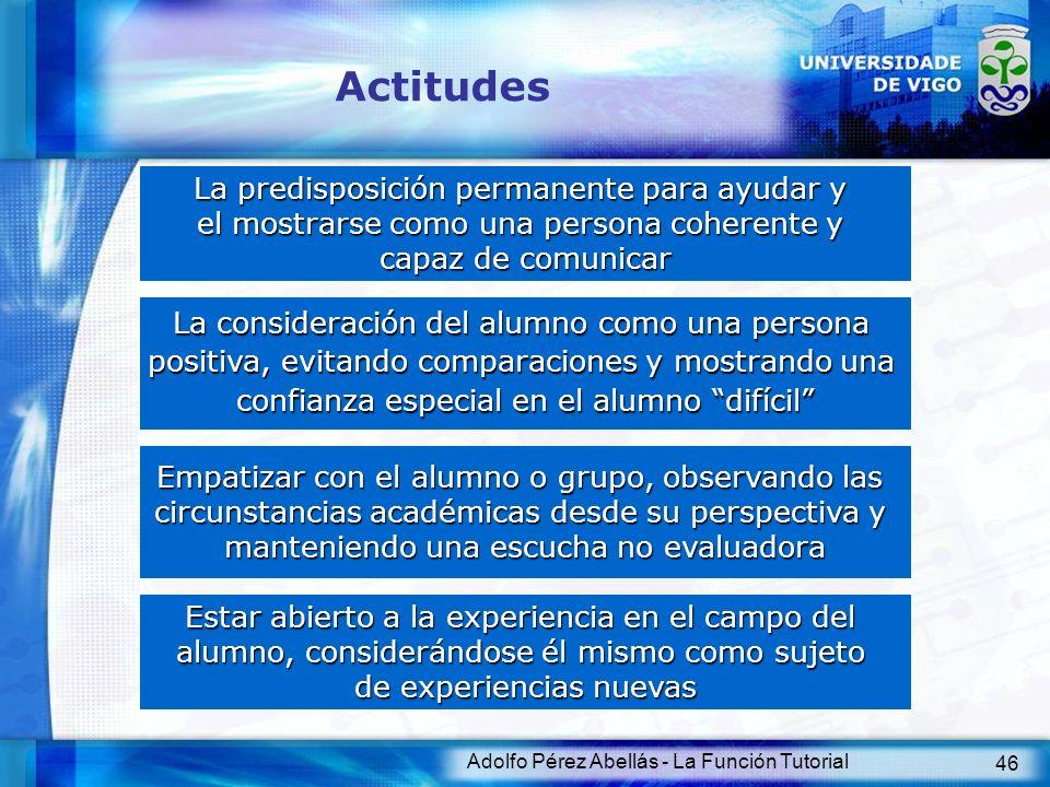 Adolfo Pérez Abellás - La Función Tutorial 47 Cualidades Comprensivo Mentalidadabierta Flexible Observador Firme Confiable Amable Hábil Asertivo DEBE SER