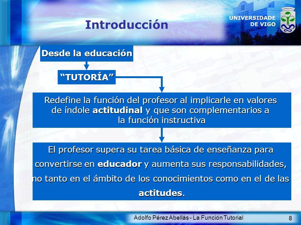 Adolfo Pérez Abellás - La Función Tutorial 9 Introducción Profesionalmente Es considerado como el profesor principal del equipo docente que imparte enseñanza a un determinado grupo de alumnos y, como tal, es responsable de una serie de actividades de carácter burocrático y de relación social TUTORTUTOR