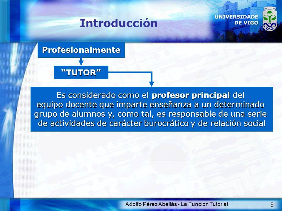 Adolfo Pérez Abellás - La Función Tutorial 9 Introducción Profesionalmente Es considerado como el profesor principal del equipo docente que imparte en