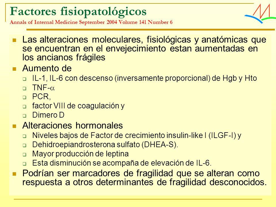 Factores fisiopatológicos Annals of Internal Medicine September 2004 Volume 141 Number 6 Las alteraciones moleculares, fisiológicas y anatómicas que s