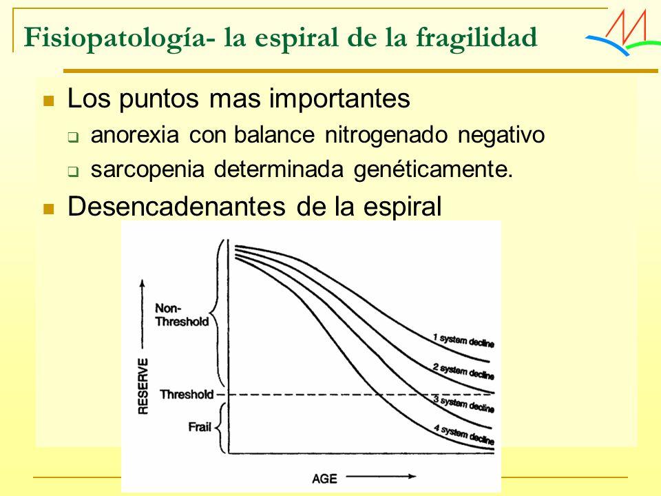 Fisiopatología- la espiral de la fragilidad Los puntos mas importantes anorexia con balance nitrogenado negativo sarcopenia determinada genéticamente.