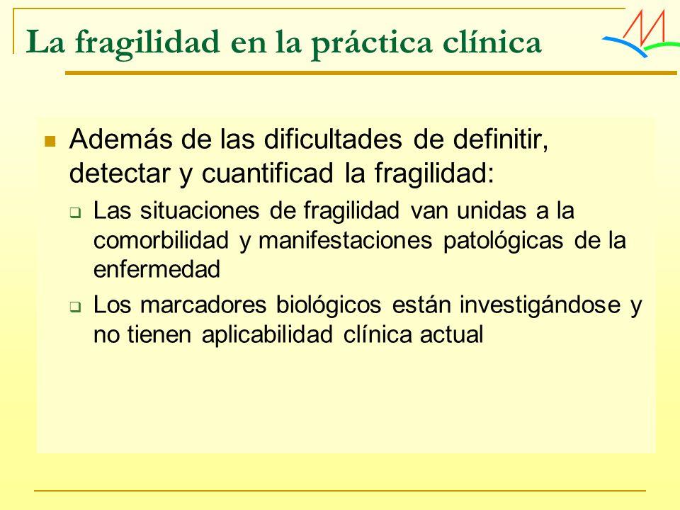 La fragilidad en la práctica clínica Además de las dificultades de definitir, detectar y cuantificad la fragilidad: Las situaciones de fragilidad van