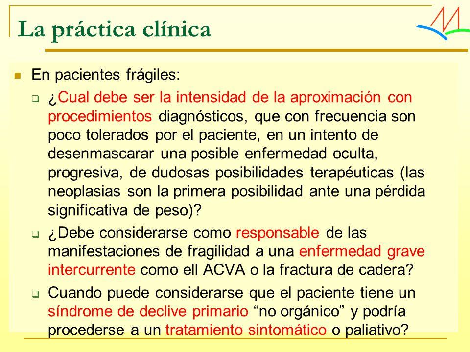 La práctica clínica En pacientes frágiles: ¿Cual debe ser la intensidad de la aproximación con procedimientos diagnósticos, que con frecuencia son poc