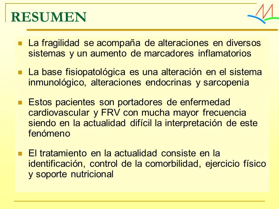 La fragilidad se acompaña de alteraciones en diversos sistemas y un aumento de marcadores inflamatorios La base fisiopatológica es una alteración en e