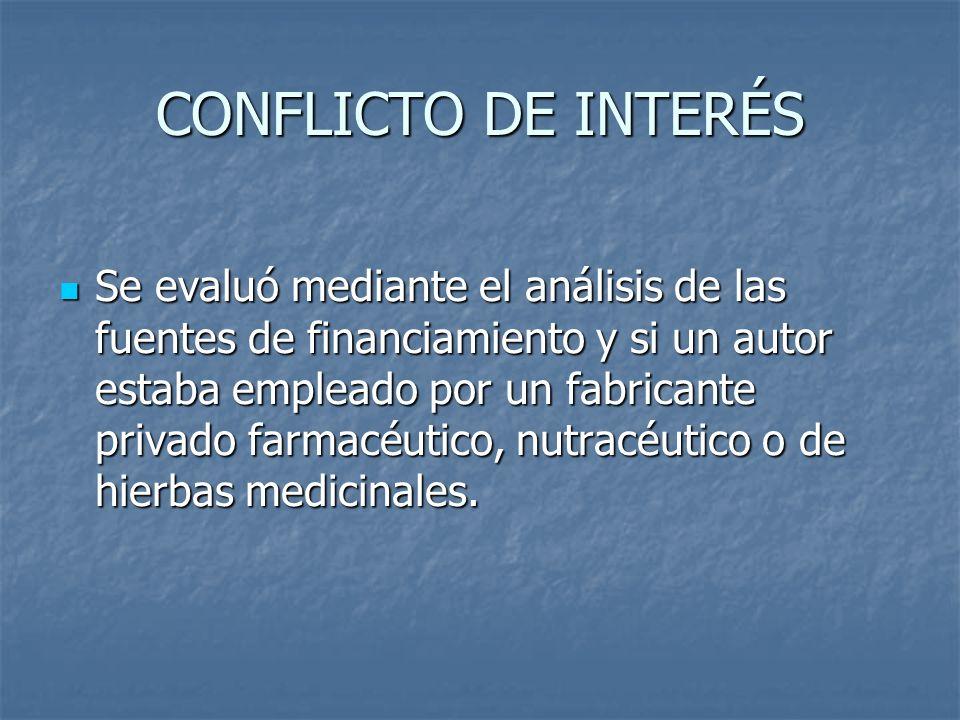 CONFLICTO DE INTERÉS Se evaluó mediante el análisis de las fuentes de financiamiento y si un autor estaba empleado por un fabricante privado farmacéut