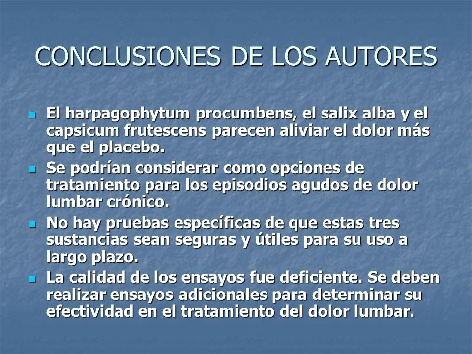 CONCLUSIONES DE LOS AUTORES El harpagophytum procumbens, el salix alba y el capsicum frutescens parecen aliviar el dolor más que el placebo. El harpag