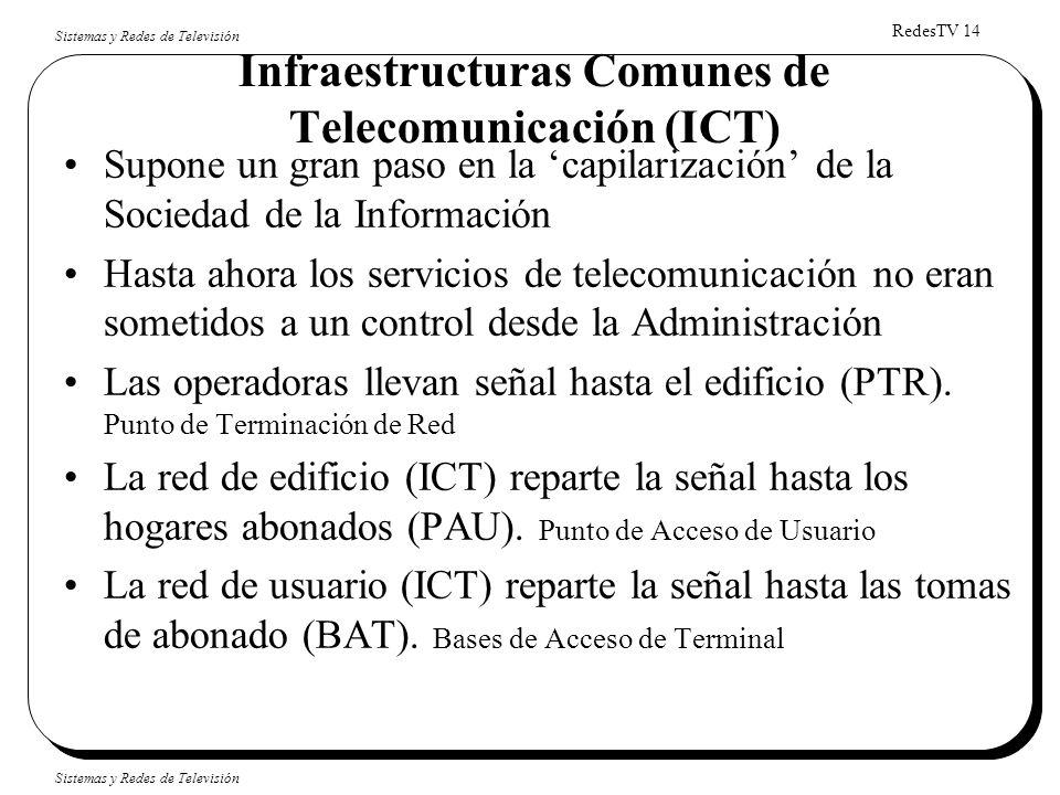 RedesTV 14 Sistemas y Redes de Televisión Infraestructuras Comunes de Telecomunicación (ICT) Supone un gran paso en la capilarización de la Sociedad d