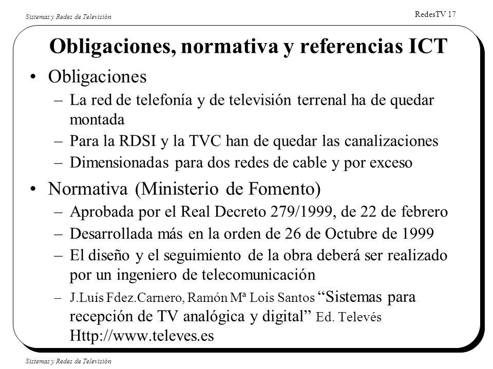 RedesTV 17 Sistemas y Redes de Televisión Obligaciones, normativa y referencias ICT Obligaciones –La red de telefonía y de televisión terrenal ha de q