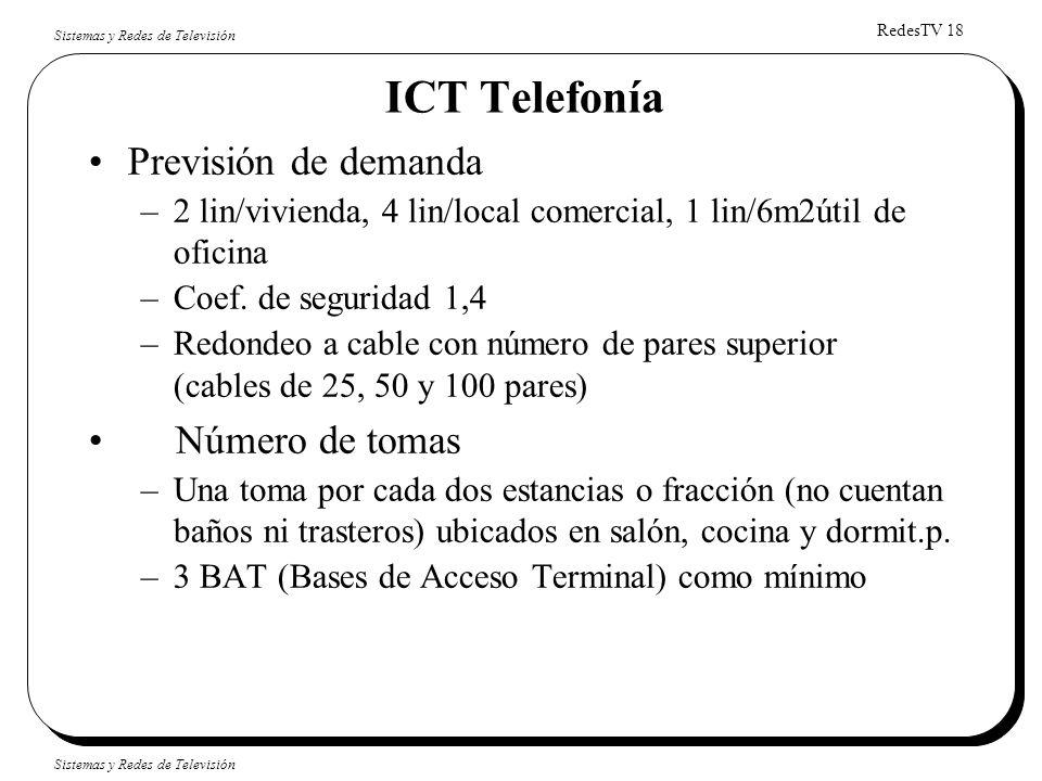 RedesTV 18 Sistemas y Redes de Televisión ICT Telefonía Previsión de demanda –2 lin/vivienda, 4 lin/local comercial, 1 lin/6m2útil de oficina –Coef. d