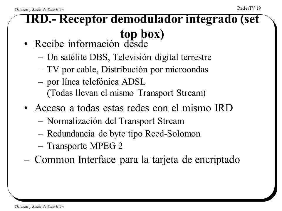 RedesTV 19 Sistemas y Redes de Televisión IRD.- Receptor demodulador integrado (set top box) Recibe información desde –Un satélite DBS, Televisión dig