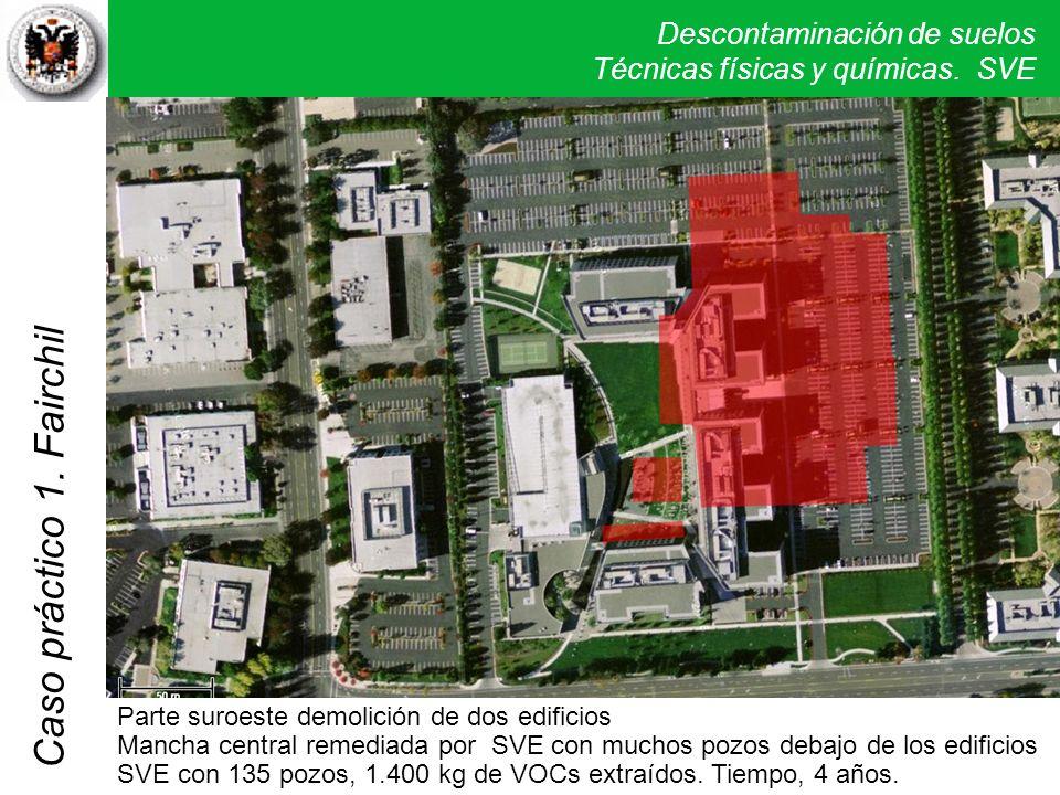 Descontaminación de suelos Técnicas físicas y químicas. SVE Caso práctico 1. Fairchil Parte suroeste demolición de dos edificios Mancha central remedi
