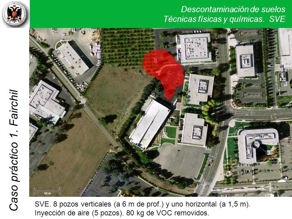 Descontaminación de suelos Técnicas físicas y químicas. SVE Caso práctico 1. Fairchil SVE. 8 pozos verticales (a 6 m de prof.) y uno horizontal (a 1,5