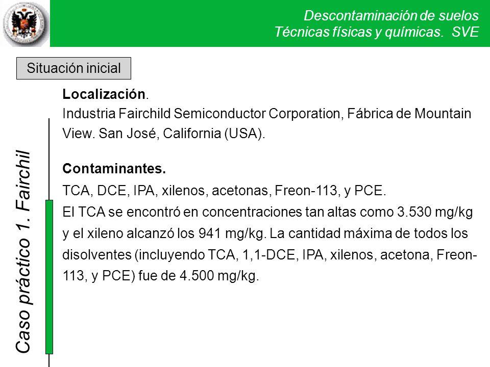 Descontaminación de suelos Técnicas físicas y químicas. SVE Caso práctico 1. Fairchil Situación inicial Localización. Industria Fairchild Semiconducto