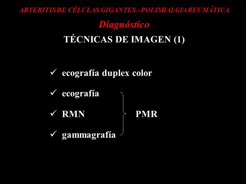 ARTERITIS DE CÉLULAS GIGANTES.- POLIMIALGIA REUMÁTICA Diagnóstico TÉCNICAS DE IMAGEN (1) ecografía duplex color ecografía RMN PMR gammagrafía