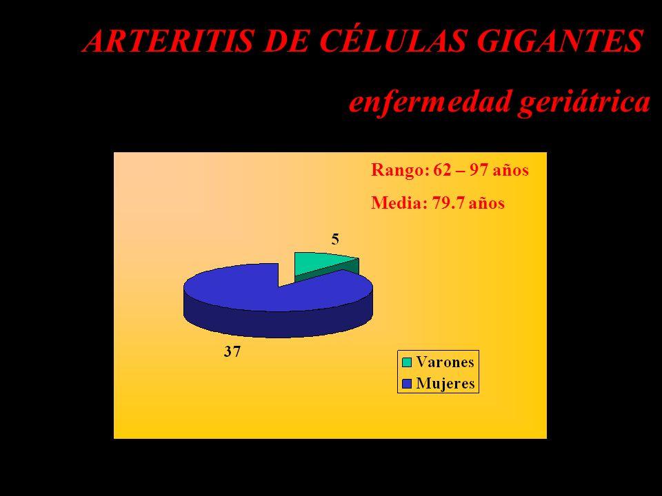 ARTERITIS DE CÉLULAS GIGANTES enfermedad geriátrica d Rango: 62 – 97 años Media: 79.7 años