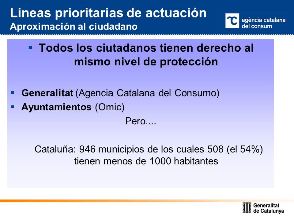 Lineas prioritarias de actuación Aproximación al ciudadano Todos los ciutadanos tienen derecho al mismo nivel de protección Generalitat (Agencia Catalana del Consumo) Ayuntamientos (Omic) Pero....