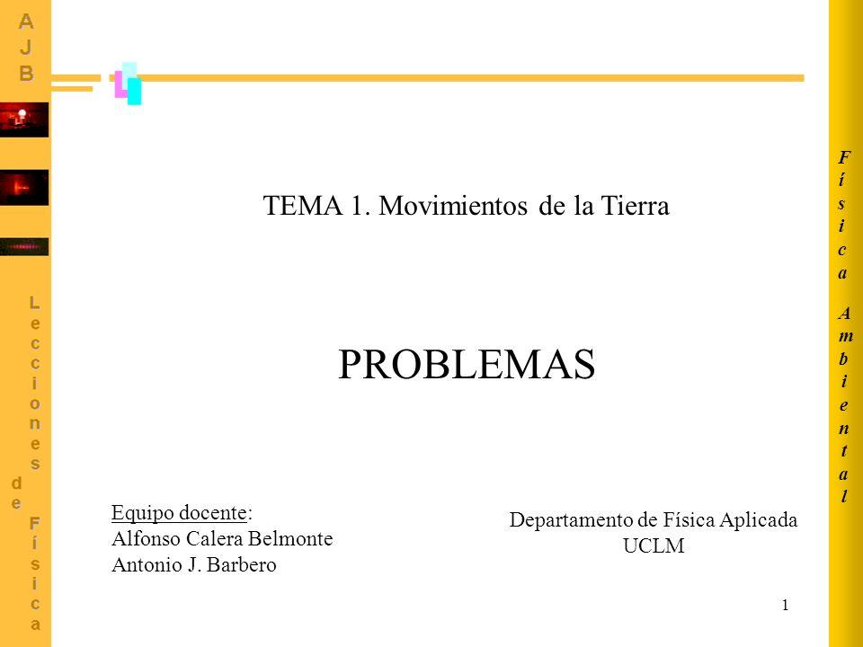 1 TEMA 1. Movimientos de la Tierra PROBLEMAS AmbientalAmbiental FísicaFísica Equipo docente: Alfonso Calera Belmonte Antonio J. Barbero Departamento d